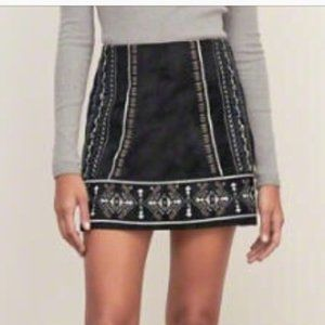 NWT Suede Mini Skirt Embroidered Blue Black
